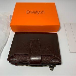 Bveyzi RFID Leather Bifold wallet burgundy snap
